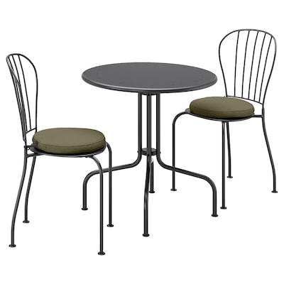 LÄCKÖ Tafel+2 stoelen, buiten, grijs/Frösön/Duvholmen donkerbeige-groen
