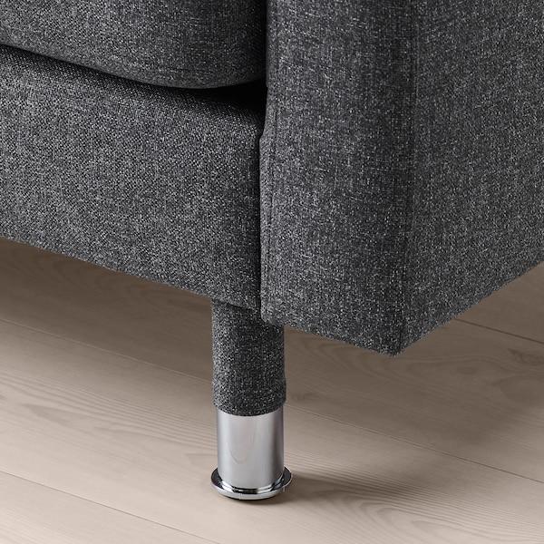 LANDSKRONA 4-zitsbank, met chaise longue/Gunnared donkergrijs/metaal