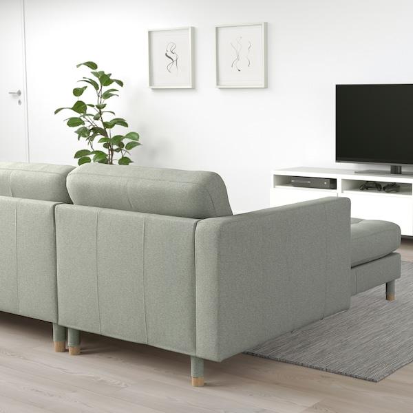 LANDSKRONA 4-zitsbank, met chaise longue/Gunnared lichtgroen/hout