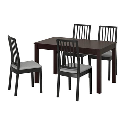 Eettafel En Stoelen Ikea.Laneberg Ekedalen Tafel En 4 Stoelen Bruin Zwart Lichtgrijs
