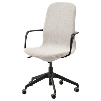 LÅNGFJÄLL Bureaustoel met armleuningen, Gunnared beige/zwart