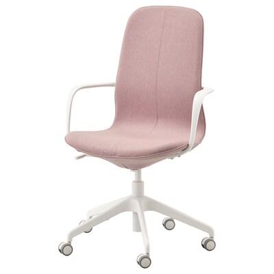 LÅNGFJÄLL Bureaustoel met armleuningen, Gunnared oudroze/wit