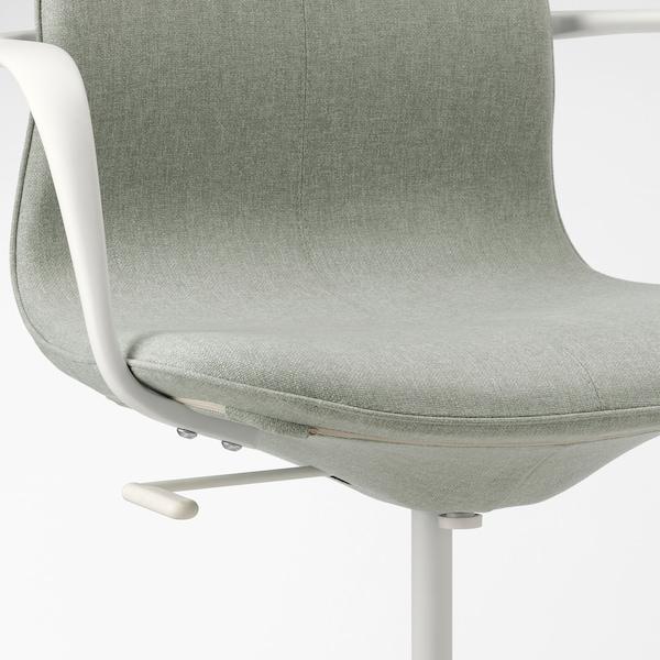 LÅNGFJÄLL Vergaderstoel met armleuningen, Gunnared lichtgroen/wit