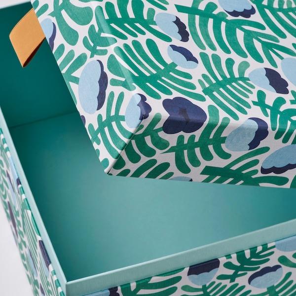 LANKMOJ sierdoosje, set van 2 groen/blauw/gebloemd