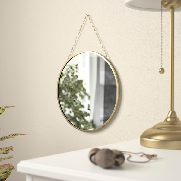 LASSBYN Spiegel, goudkleur, 25 cm