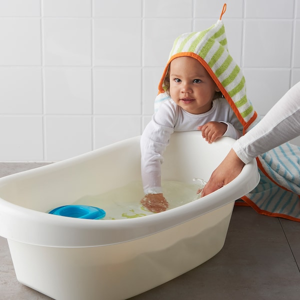 LÄTTSAM Babybadje, wit/groen