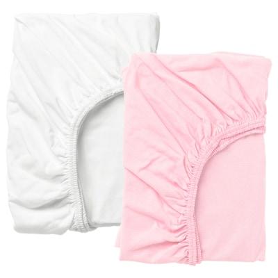 LEN Hoeslaken voor babybed, wit/roze, 60x120 cm