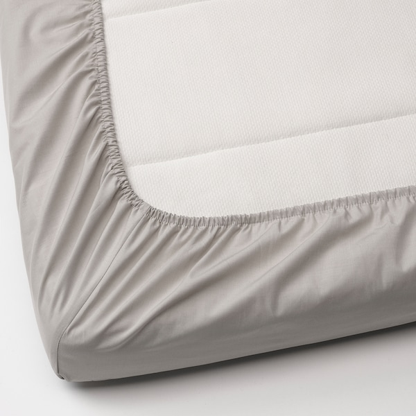 LENAST Hoeslaken voor babybed, wit/grijs, 60x120 cm
