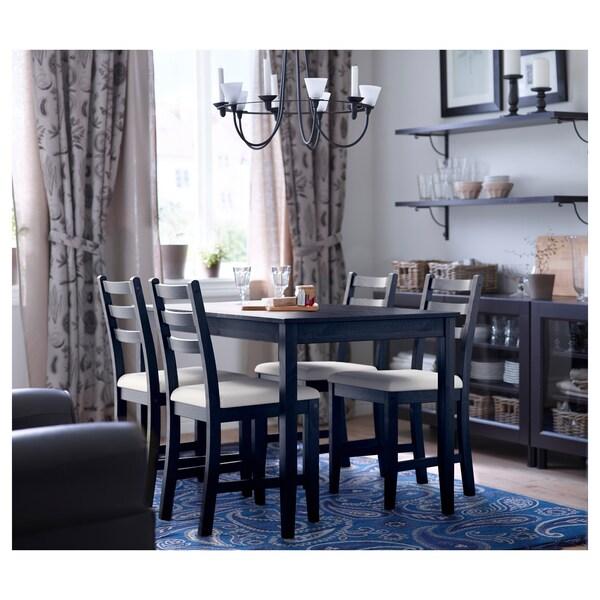LERHAMN Tafel en 4 stoelen, zwartbruin/Vittaryd beige, 118x74 cm