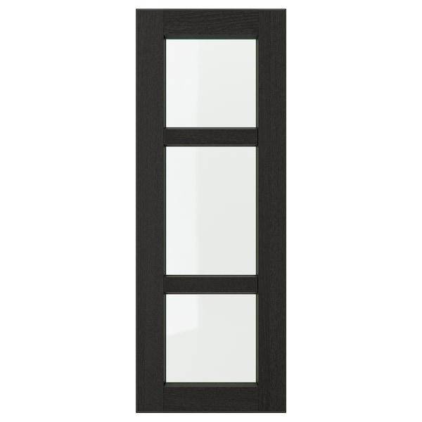 LERHYTTAN Vitrinedeur, zwart gelazuurd, 30x80 cm
