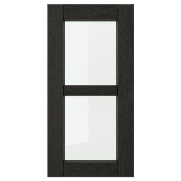 LERHYTTAN Vitrinedeur, zwart gelazuurd, 30x60 cm