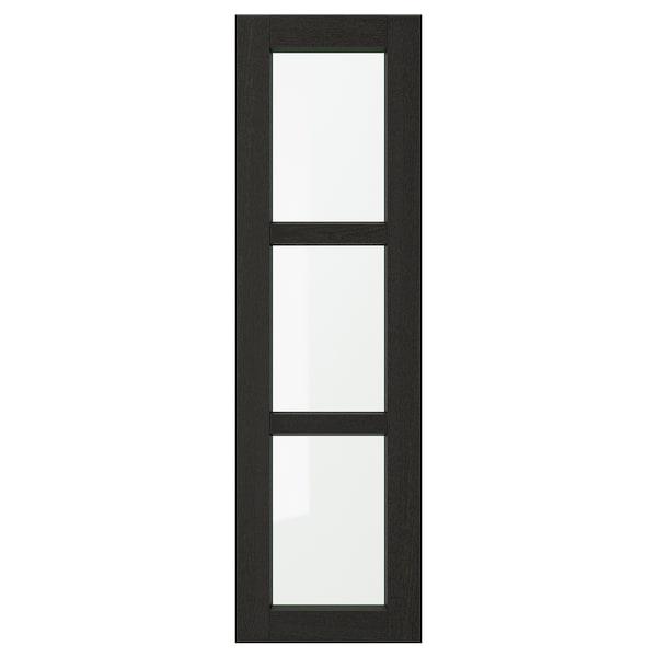 LERHYTTAN Vitrinedeur, zwart gelazuurd, 30x100 cm