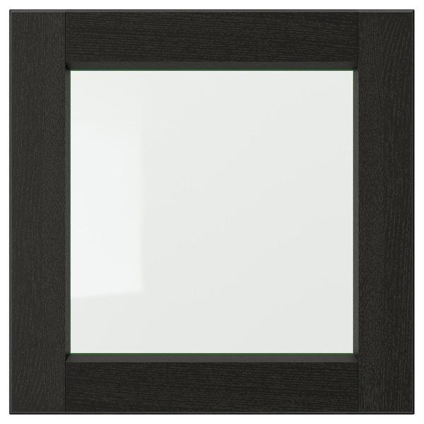 LERHYTTAN Vitrinedeur, zwart gelazuurd, 40x40 cm