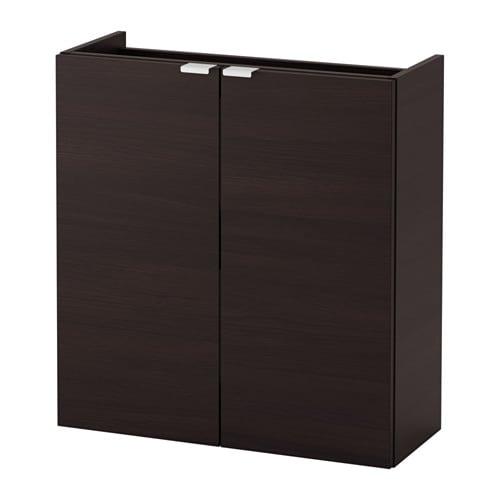 Ikea Badkamer Hangkast.Lillangen Kast Voor Wastafel 2 Deuren Zwartbruin 60x25x64 Cm Ikea