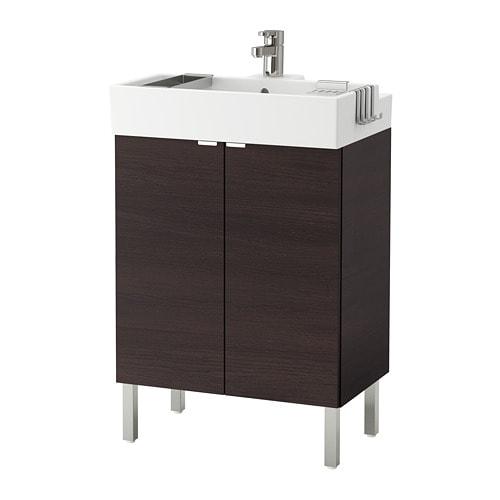 LILL u00c5NGEN Kastje voor onder wastafel 2 deuren   roestvrij staal, zwartbruin, 60x41x92 cm   IKEA