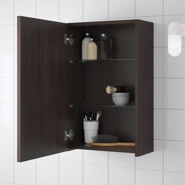 LILLÅNGEN spiegelkast met 1 deur zwartbruin 40 cm 21 cm 64 cm