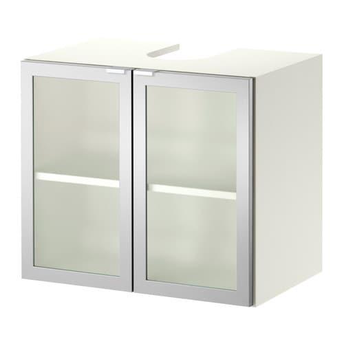 LILL?NGEN Wastafelkast met 2 deuren - wit/aluminium - IKEA