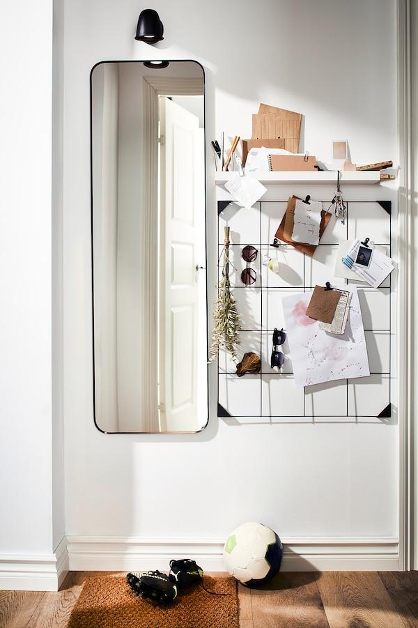 LINDBYN Spiegel, zwart, 40x130 cm