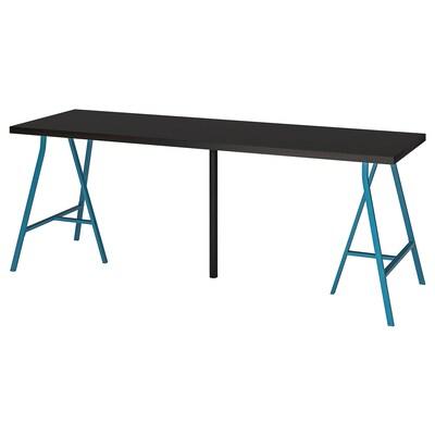 LINNMON / LERBERG Tafel, zwartbruin/blauw, 200x60 cm