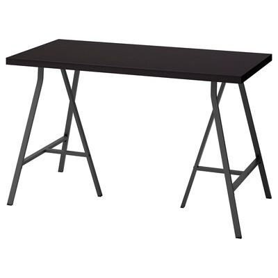 LINNMON / LERBERG Tafel, zwartbruin/grijs, 120x60 cm