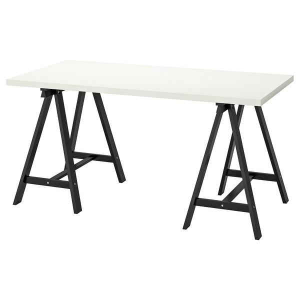 LINNMON / ODDVALD Tafel, wit/zwart, 150x75 cm