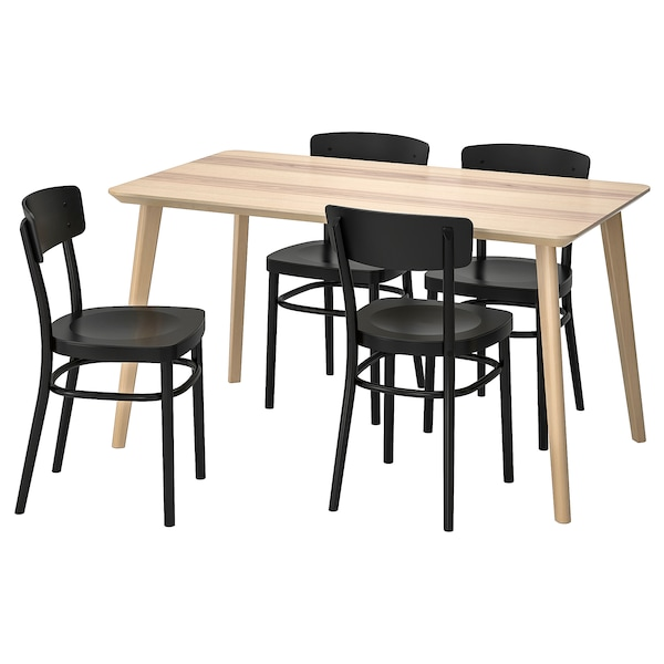 LISABO IDOLF Tafel en 4 stoelen essenfineer, zwart 140x78 cm