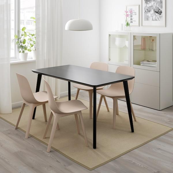 LISABO / ODGER Tafel en 4 stoelen, zwart/beige, 140x78 cm