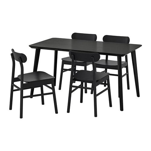 Eettafel En Stoelen Ikea.Lisabo Ronninge Tafel En 4 Stoelen Zwart Zwart
