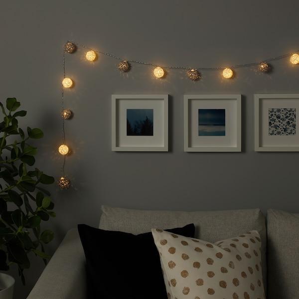 LIVSÅR Led-lichtsnoer met 12 lampjes, binnen/op batterijen grijs/wit