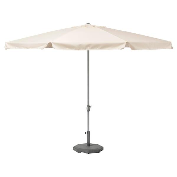 LJUSTERÖ Parasol met voet, beige/Huvön donkergrijs, 400 cm