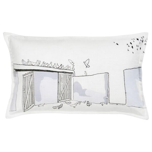 LOKALT Kussenovertrek, wit paars/handgemaakt, 65x40 cm