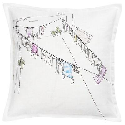 LOKALT Kussenovertrek, wit roze/handgemaakt, 50x50 cm