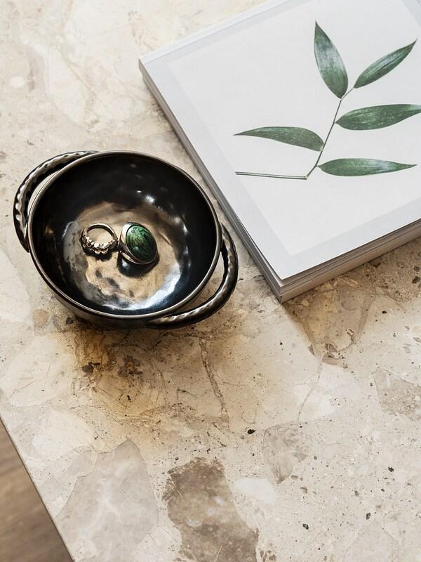 LOKALT Serveerschaal, zwart/handgemaakt, 13 cm