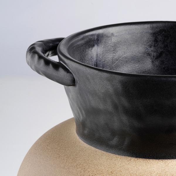 LOKALT Vaas, beige zwart/handgemaakt, 21 cm