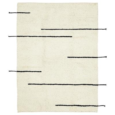 LOKALT Vloerkleed, naturel zwart/handgemaakt, 133x195 cm