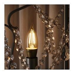 Led-lamp E14 200 lumen, dimbaar, kaarslamp bruin helder glas, LUNNOM