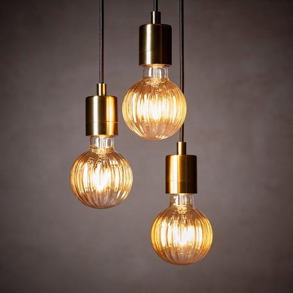 LUNNOM Led lamp E27 80 lumen globe gestreeptbruin helder
