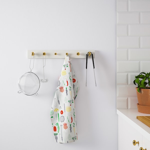 LURT / ENERYDA Hanger met 6 knoppen, wit/messingkleur