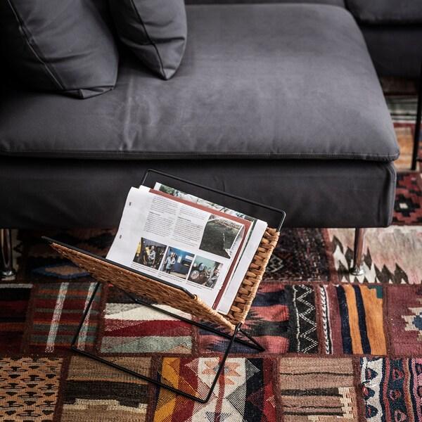 LUSTIGKURRE Tijdschriftenrek, naturel/zwart, 35x35 cm