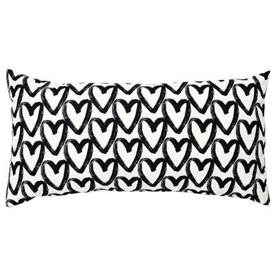 LYKTFIBBLA Kussen, wit/zwart, 30x58 cm