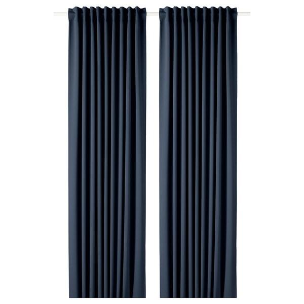 MAJGULL verduisterende gordijnen, 1 paar donkerblauw 300 cm 145 cm 2.50 kg 4.35 m² 2 st.