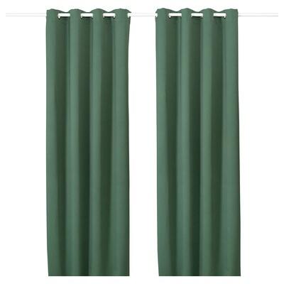 MAJGULL Verduisterende gordijnen, 1 paar, met oogjes groen, 145x300 cm