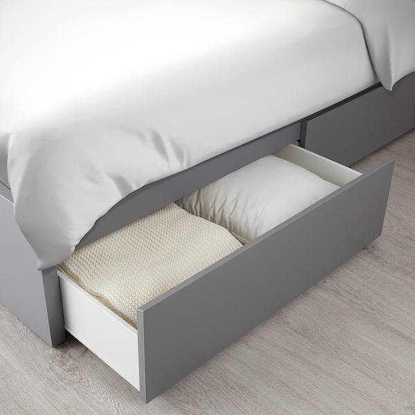 Goede MALM Bedframe, hoog met 4 bedlades, grijs gelazuurd, 160x200 cm - IKEA XF-03
