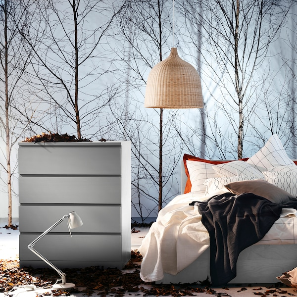 MALM Bedonderstel, hoog, grijs gelazuurd/Lönset, 140x200 cm