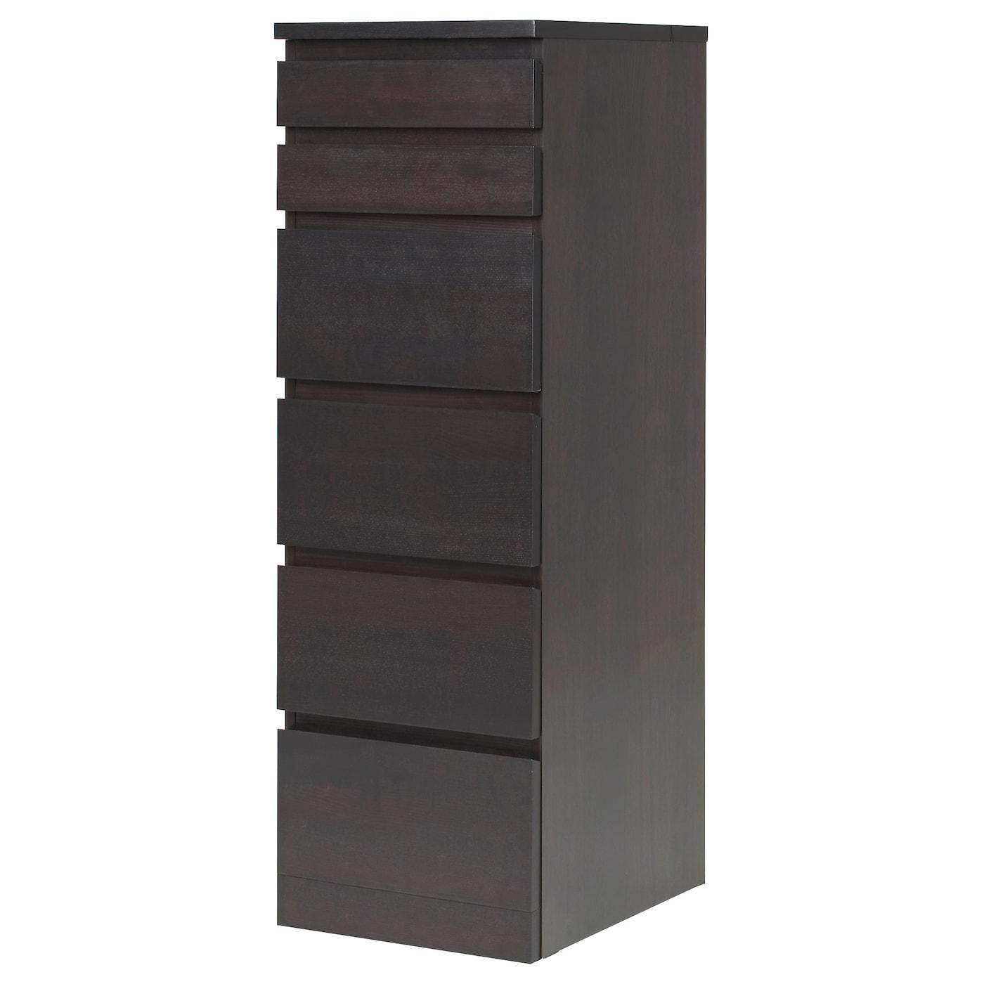 IKEA - MALM Ladekast 6 lades - 40x123 cm - Zwartbruin/spiegelglas