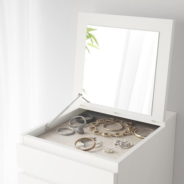 MALM Ladekast 6 lades, wit/spiegelglas, 40x123 cm
