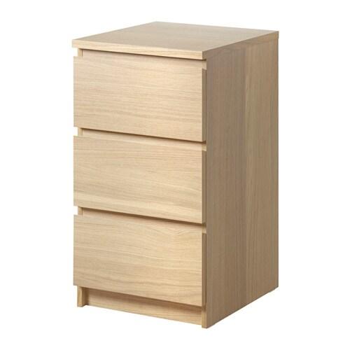 MALM Ladekast 3 lades - wit gelazuurd/eiken, 40x78 cm - IKEA