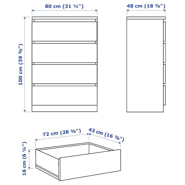 MALM Ladekast met 4 lades, hoogglans wit, 80x100 cm