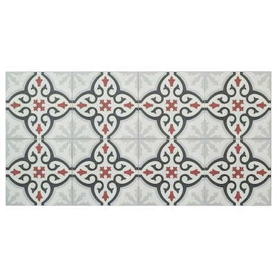 MARKYTA Vloer-/wandtegel, ornamentenpatroon grijs/oranje, 1.97 m²