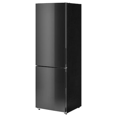 MEDGÅNG Koel- / diepvrieskast, IKEA 500 losstaand/zwart roestvrij staal, 219/83 l